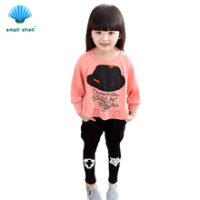 SMALL SHELL 2017 New fashion Summer Style Baby Girls Clothes Sets Cotton Suit Kids Clothing set batwing sleeve Clothes+pants