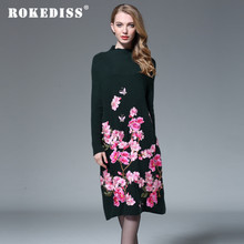 Chinese traditional clothing women wool knitting sweater dress 2017 winter vintage royal embroidery elegant cashmere dress H046