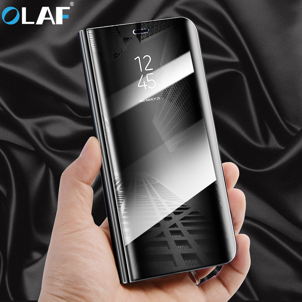 OLAF Flip Stand Phone Case For Samsung Galaxy S8 S7 S9 S6 Edge Note 8 Luxury Clear View Smart Mirror Case For iPhone 7 8 Plus X