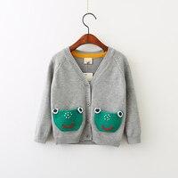Jesień Żaba Unisex Dziewczyny Kieszenie Sweter Dzieci Dorywczo Wydruku Królik Ubrania Mouse Baby Dzieci Otwórz Stitch Chłopców Odzież 5 sztuk/partia