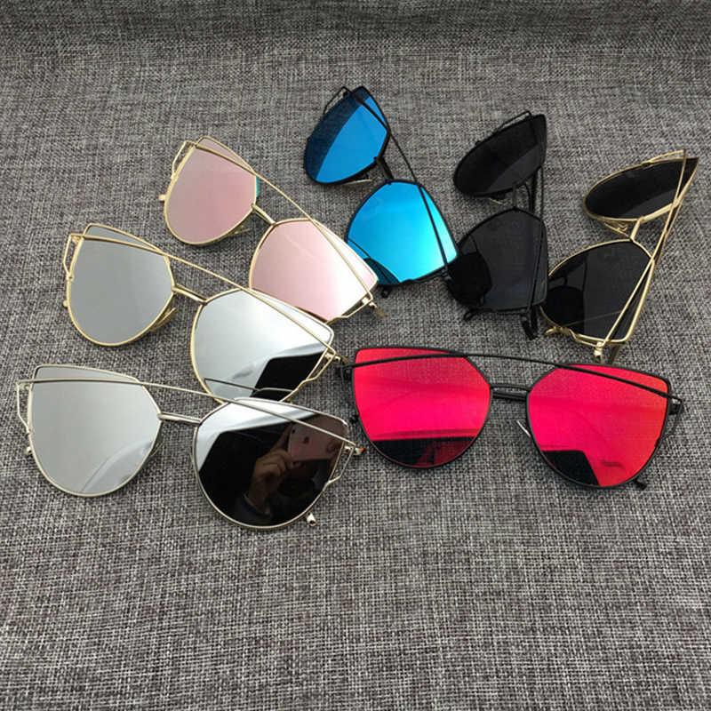 7245f1ffeb Cat eye Women Sunglasses 2018 New Brand Design Mirror Flat Rose Gold Vintage  Cateye Fashion sun