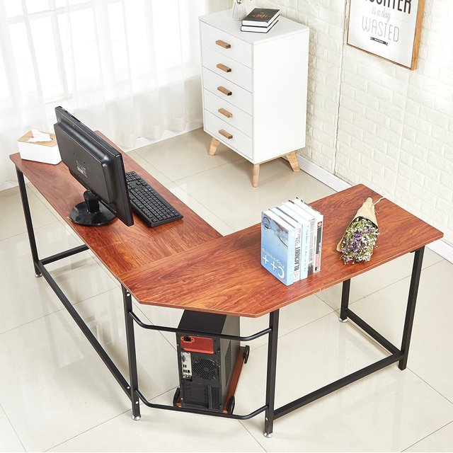 L Shaped Home Office Corner Computer Desk With Cpu Stand Pc Table Workstation Wood Metal