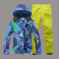 Super Warm Gsou Snow Men Ski Jacket+Pants Windproof Waterproof Skiing Snowboard Suit Coat Trouser Winter Clothing Male Suit Set
