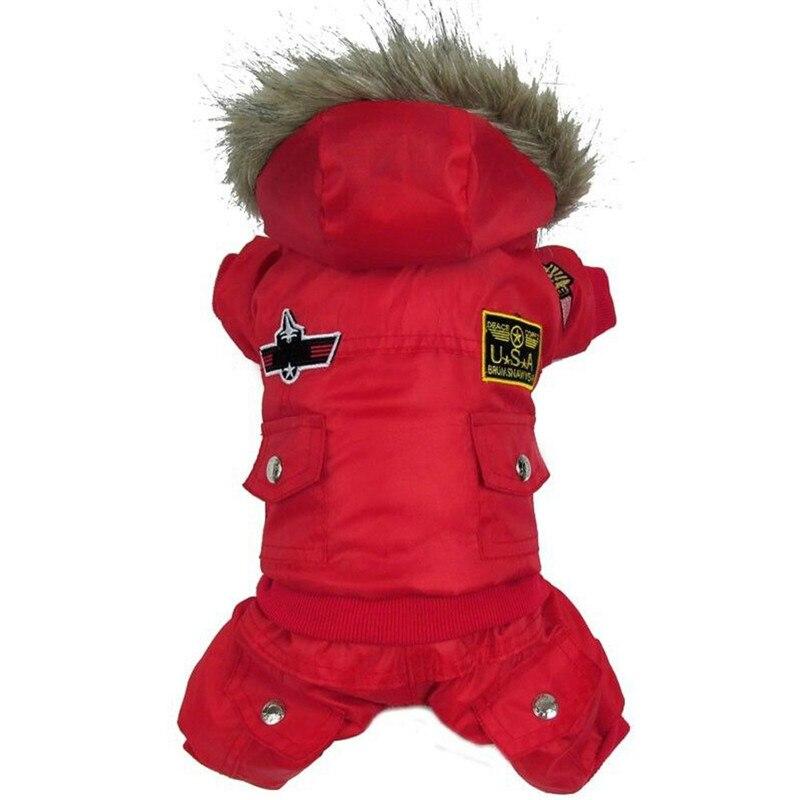 Alta calidad del perro de perrito invierno chaqueta ee.uu. Air Force ropa de invierno mascotas animales gato con capucha mono caliente Pantalones ropa