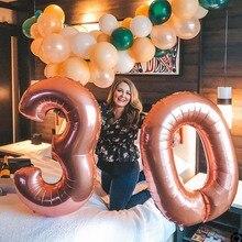 Большие цифры шары цифры балон гелий розовое золото декоративные шары для дня рождения воздушный шар Дети деко день рождения