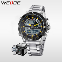 WEIDE Brand Men Military Watch  Stainless Steel Band Original Japan Quartz 3ATM Waterproof Auto Date Male Alarm Clock Men Watch original fashion weide watch mens sport watch men digital quartz led week day date watch silicone band wristwatches clock gift