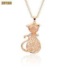 Cute Cat Pendant Necklace Gold Rhinestone Animal Necklace Fashion Trendy Style Jewelry For Women Sweater Long Chains Wholesale fashion wild necklace symmetrical five petal flower blue rhinestone elegant rhinestone pendant sweater long necklace jewelry