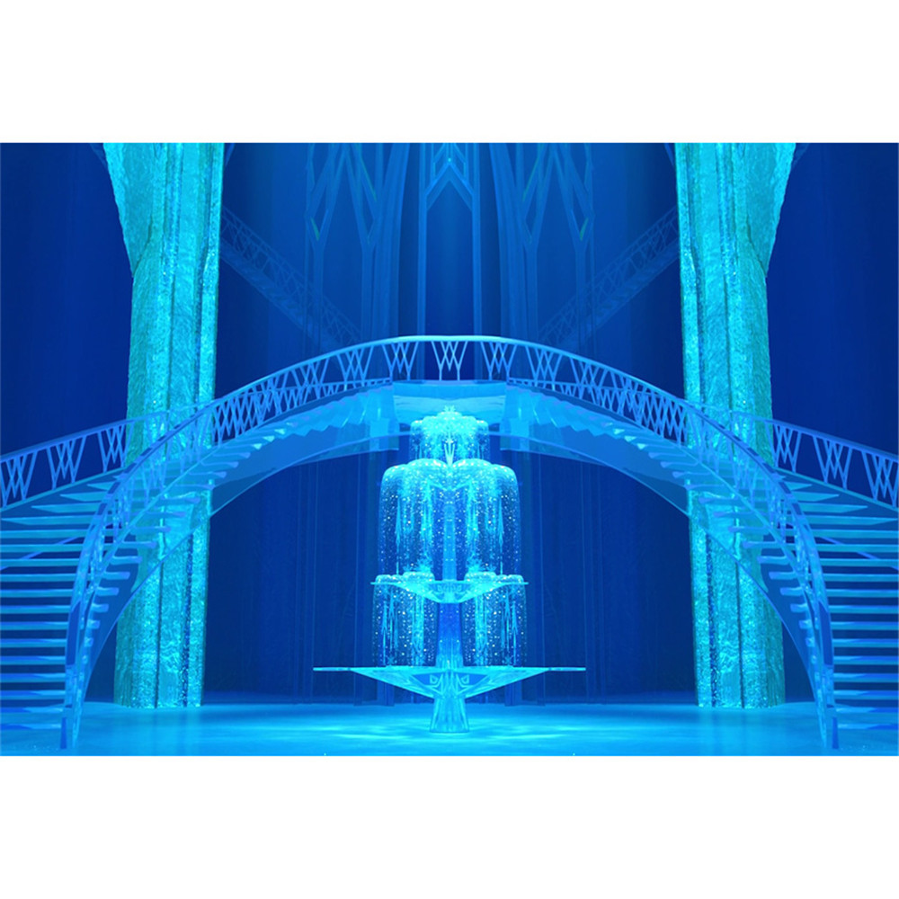 Blue Frozen Palace Princess Girls Stage Photography Backdrop Stairs Ice Pillars Children Birthday Party Photo Booth Backdrops