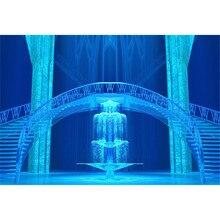 Palácio azul Congelado Princesa Meninas Palco pano de Fundo a Fotografia Escadas Gelo Pilares Da Festa De Aniversário Crianças Cenários Cabine de Fotos