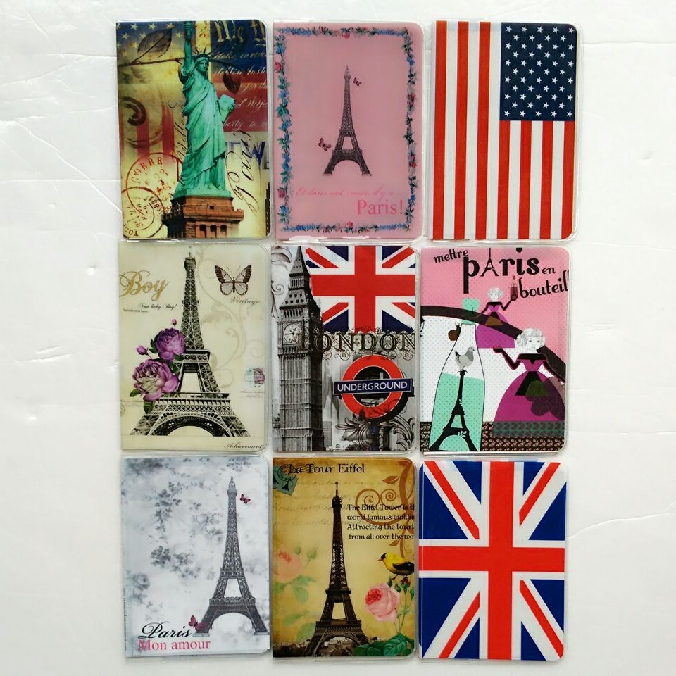 Paris Eiffel Tower Travel Passport Cover,3D Card Bag,Porte Carte Simple,PVC Leather Credit Card Holder,Business Card Holder joyir men passport cover genuine leather passport holder travel wallet card wallet credit card holder porte carte business male
