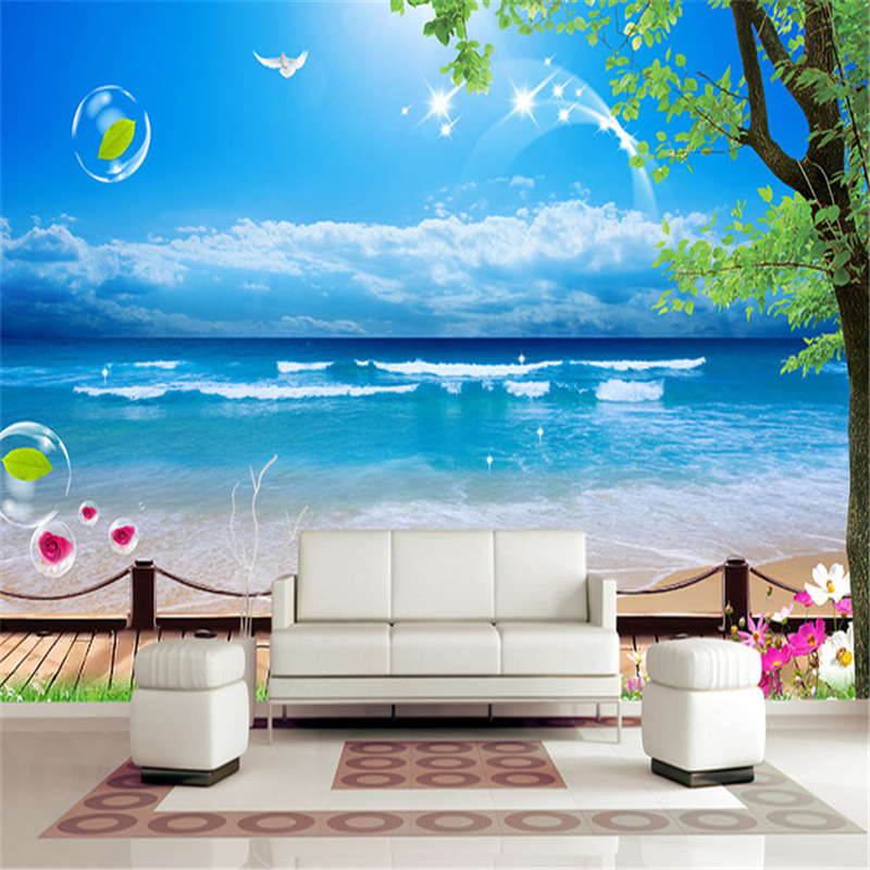 beibehang Mediterranean TV background Custom papel de parede 3d mural wall paper living room bedroom photo wallpaper for wall 3d  custom wallpaper 3d a couple of peacock murals for the living room bedroom tv background wall waterproof papel de parede