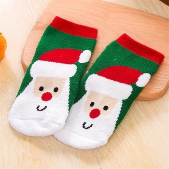 1 Pair Cotton Spring Winter Autumn Baby Girls Boys Kids Socks Children Striped Terry Snowflake Elk Santa Claus Christmas Bear 1