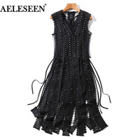Runway Gothic Dresses Fashion Women Sleeveless 2018 Summer Black White Hollow Out Lace Sexy Tassle Split Beading Luxury Dress