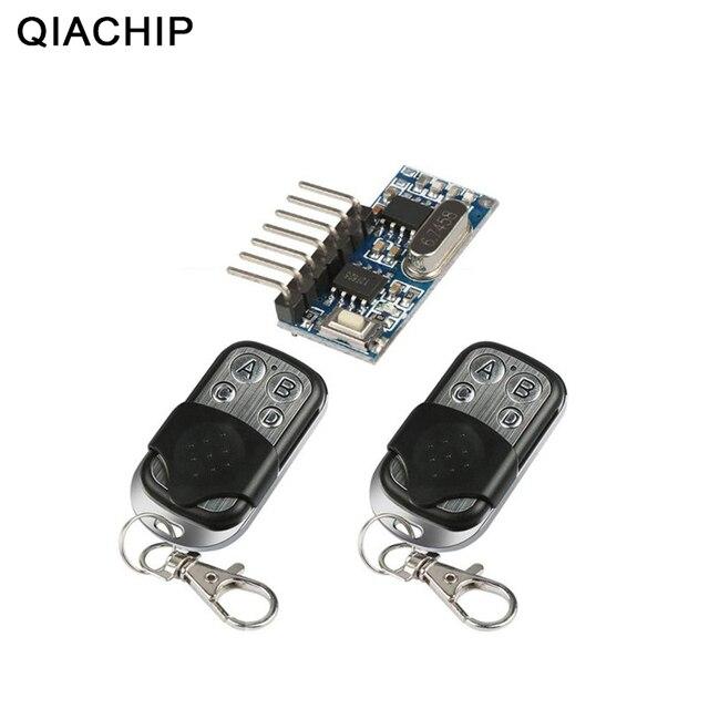 QIACHIP 2 adet 433 Mhz uzaktan kumanda + 433 Mhz kablosuz alıcı öğrenme kodu 1527 çözme modülü 4Ch çıkış öğrenme düğmesi DIY