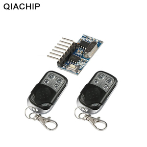 Image 1 - QIACHIP 2pcs 433 Mhz Remote Control + 433Mhz Wireless Receiver Learning Code 1527 Decoding Module 4Ch Output Learning Button DIY