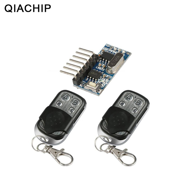 QIACHIP 2pcs 433 Mhz Remote Control + 433Mhz Wireless Receiver Learning Code 1527 Decoding Module 4Ch Output Learning Button DIY