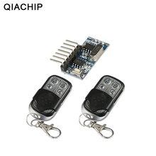 Qiachip 2pcs 433 mhz 원격 제어 + 433 mhz 무선 수신기 학습 코드 1527 디코딩 모듈 4ch 출력 학습 버튼 diy