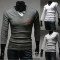 NEW Stylish Slim Fit Casual fashion long sleeve Men Top Cloth Double zip fake pocket T-shirts TEE Shirt BT09