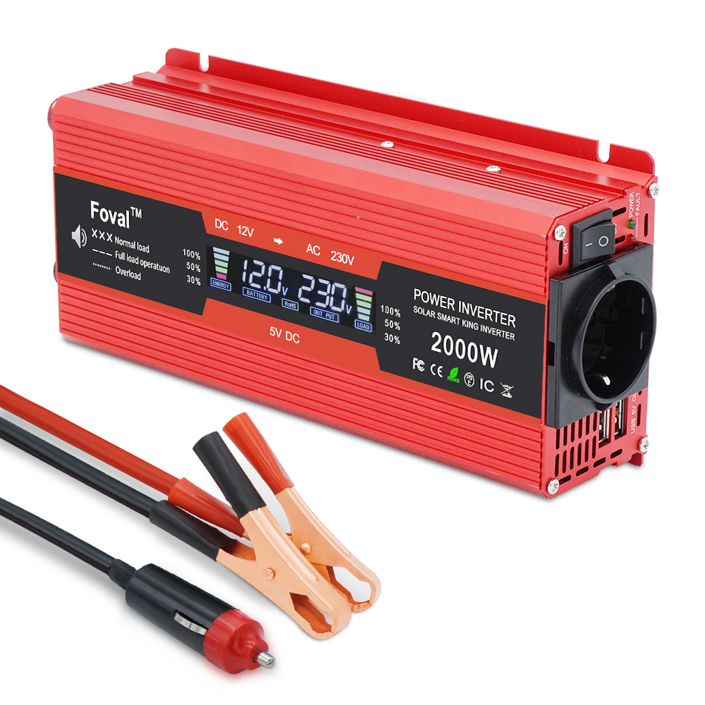 Car Power Inverter DC 12V To AC 230V 1500W/2000W/2600W Vehicle 3.1A USB Adapter Converter Power Supply Switch On-board Charger