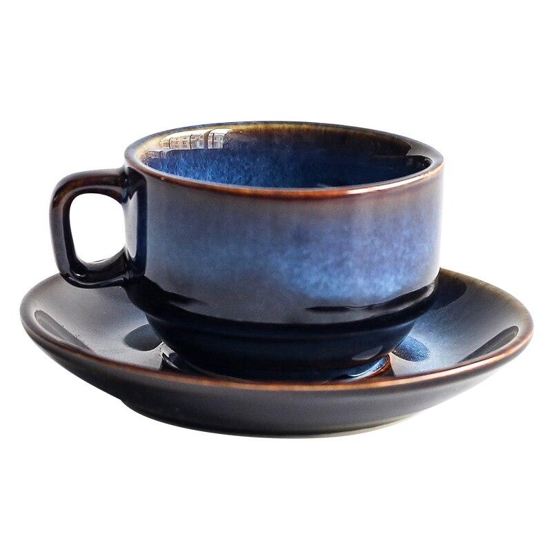 Blue Art Glaze Coffee Cup & Saucer