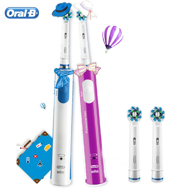 Electric Toothbrush Oral B Pro600 Plus Ultrasonic 3D Action Rotation Smart Timer Tooth Brush Teeth Whitening Replaceable Heads 1