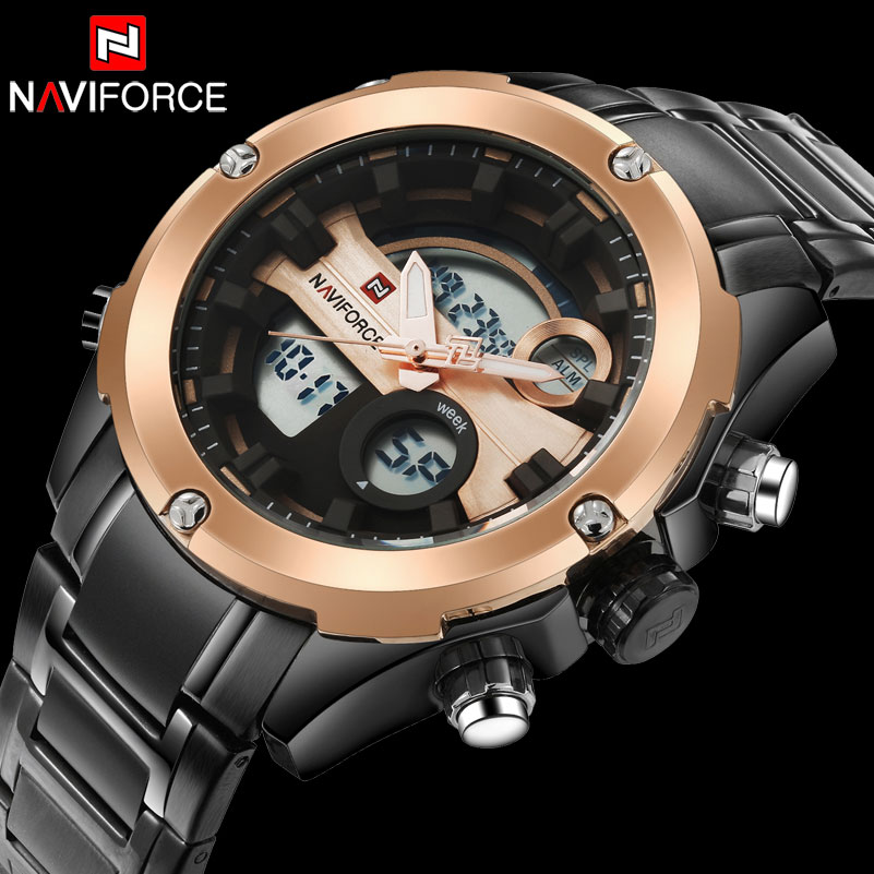NAVIFORCE Brand Men Sport Watches Dual Display Watches Digital Analog Watches Electronic Steel Quartz Watch 30M Waterproof Clock все цены
