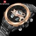 men sport watches dual display watches NAVIFORCE brand digital analog watches Electronic steel quartz watch 30M waterproof clock