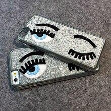 3D Яркий Блеск Bling Кьяра Ferragni Мисс Gossip Мигать Подмигнуть Большие Глаза твердый Переплет Чехол Для iPhone 6 Plus 6 s Plus 5.5 Розничная коробка