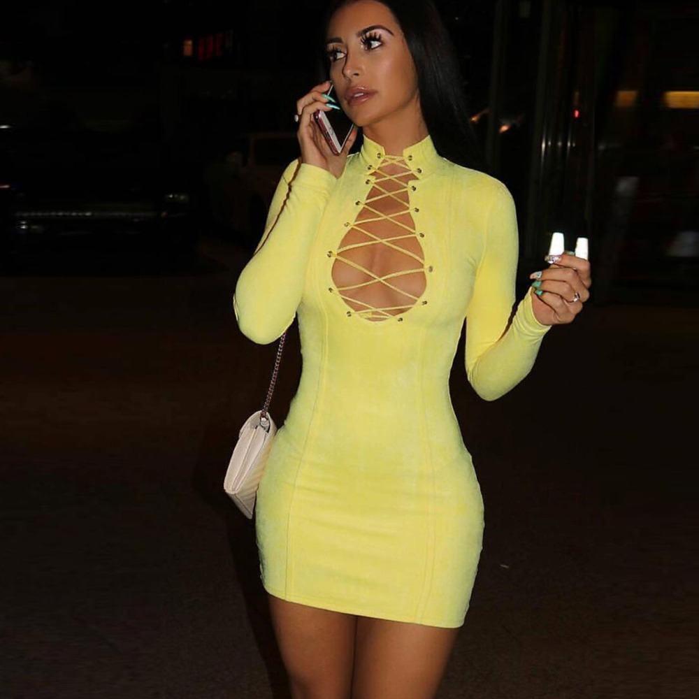 2019 New Autumn Bandage Dress Women Celebrity Sexy Club Evening Party Dress Above Knee V Neck Long Sleeve Vestidos Lady