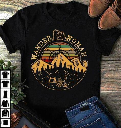 Wander Woman Camping Hiking Mountain Vintage T-Shirt Black Men Cotton Cool Casual Pride T Shirt Men Unisex Fashion Tshirt
