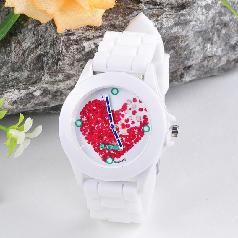 Excellent Quality OTOKY Women Silicone Jelly Red Heart petals Quartz Analog Sports Wrist Watch Quartz watch Elegant Dress Watch ...