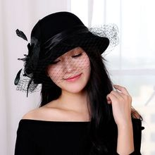2016 New Classic Black Veil Vintage Winter Hat Women Fashion England Flower Mesh Bow Bucket Cap Elegant Pure Wool Warm Lady Hat