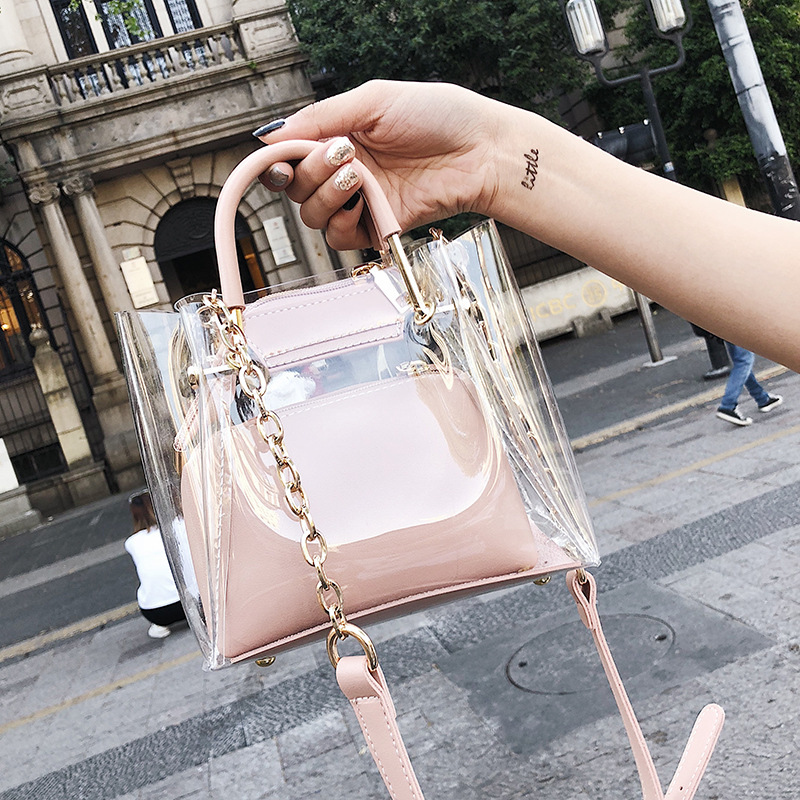 2018 New Transparent Women Handbags Purse Solid Casual Tote Shoulder Bag Jelly Composite Bags Teenager Girls Small Beach Bags