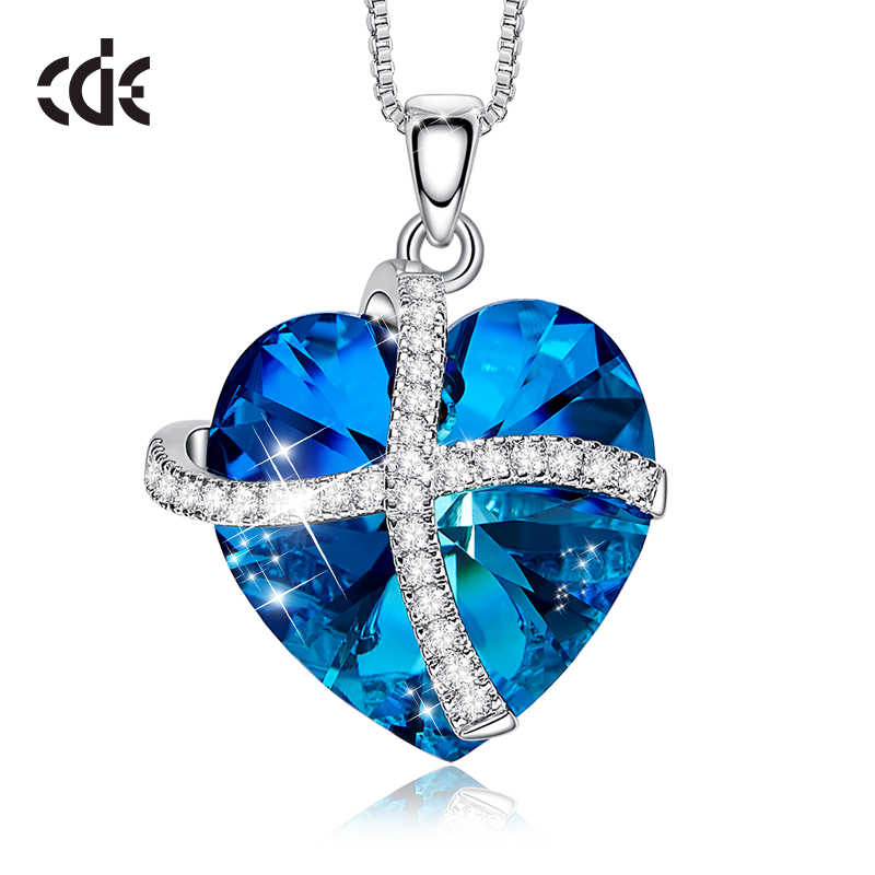 CDE Heart Pendant Necklace Woman White Gold Jewelry Embellished with crystals from Swarovski Fine Jewelry Accessory Necklace