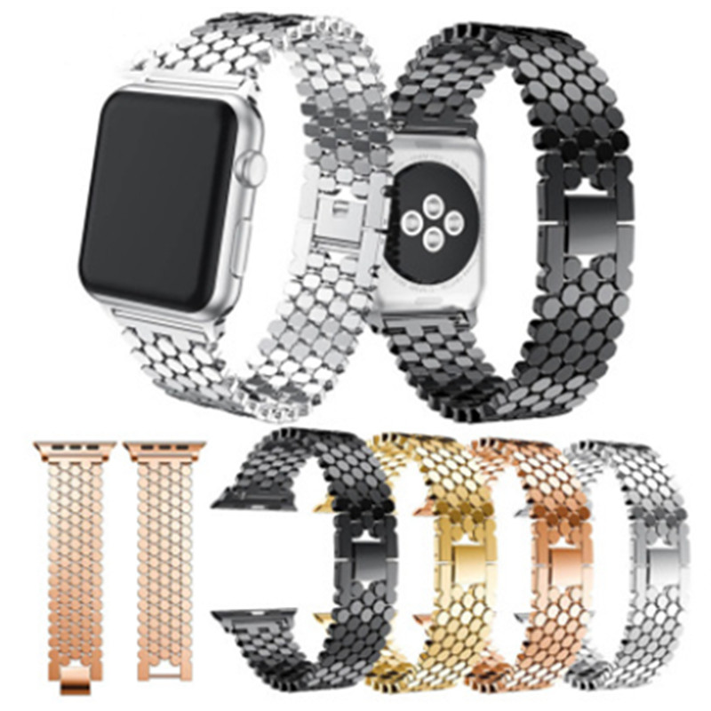 Applicable To For Apple 4 Fish Scale Metal Strap For Iwatch Solid Chain Stainless Steel Belt New Hhoneycomb Belt