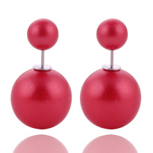 12 Colors Hot Selling Double Ball Earrings Genuine Brand Double Side Matte Pearl Stud Earrings For Women Lady Christmas Gift