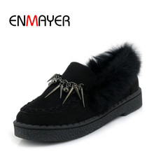 ENMAYER 2018 Winter Warm Fahion Plush Shoes Casual Woman Flock Slip-on Round Toe Bordered Ladies Black Yellow