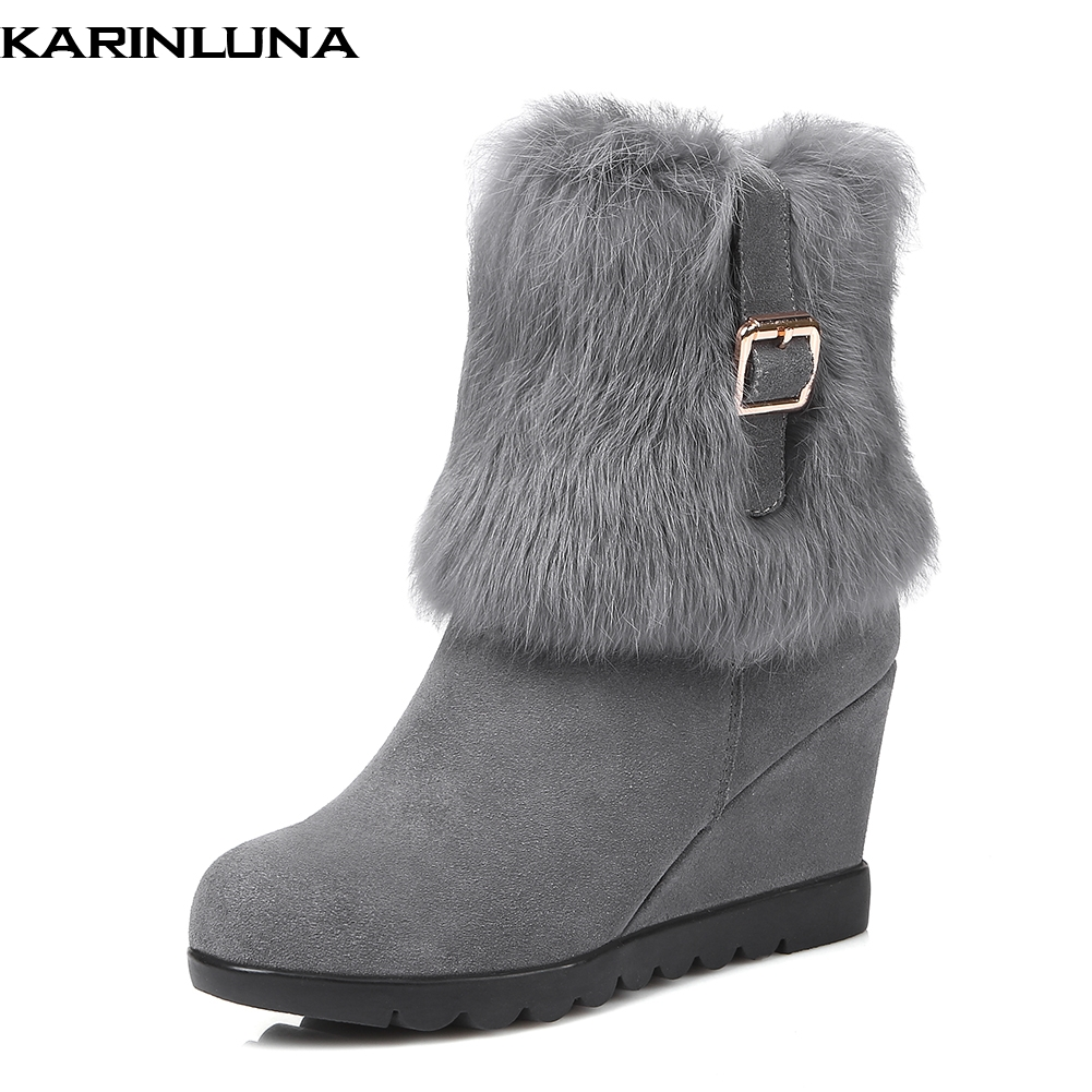 Karinluna 2019 new cow suede leather wedge high heels snow Boots Women Shoes winter warm real fur Woman mid calf Boots
