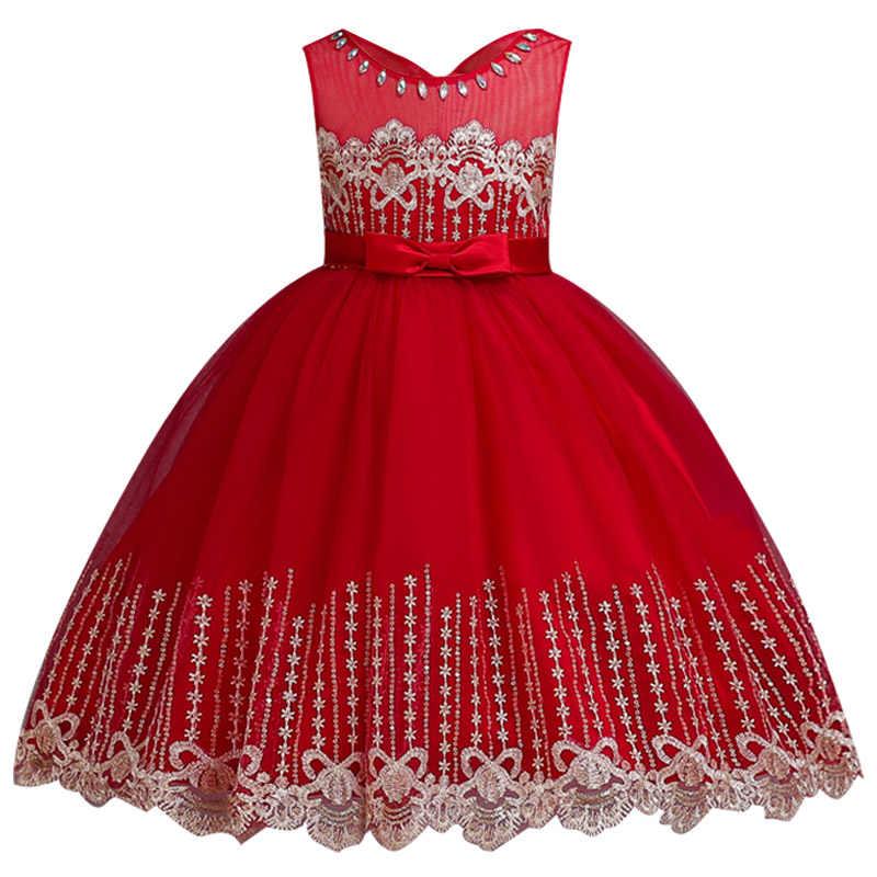 Высокое качество, Детские платья для девочек, одежда свадебное платье с вышивкой, зимнее платье принцессы для девочек элегантные платья для рождественской вечеринки