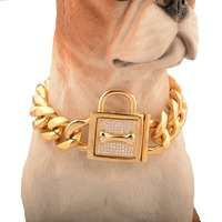Top Quality Full CZ Lock Clasp Stainless Steel Dog Chain Torques Pitbull Collar Choker Safety Bone Clasp Cuban LinK Pet Necklace