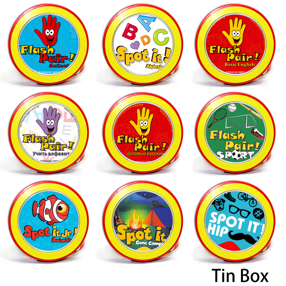 10 style available junior animals spot it hip gone camping with metal box cards game for home kids party board game