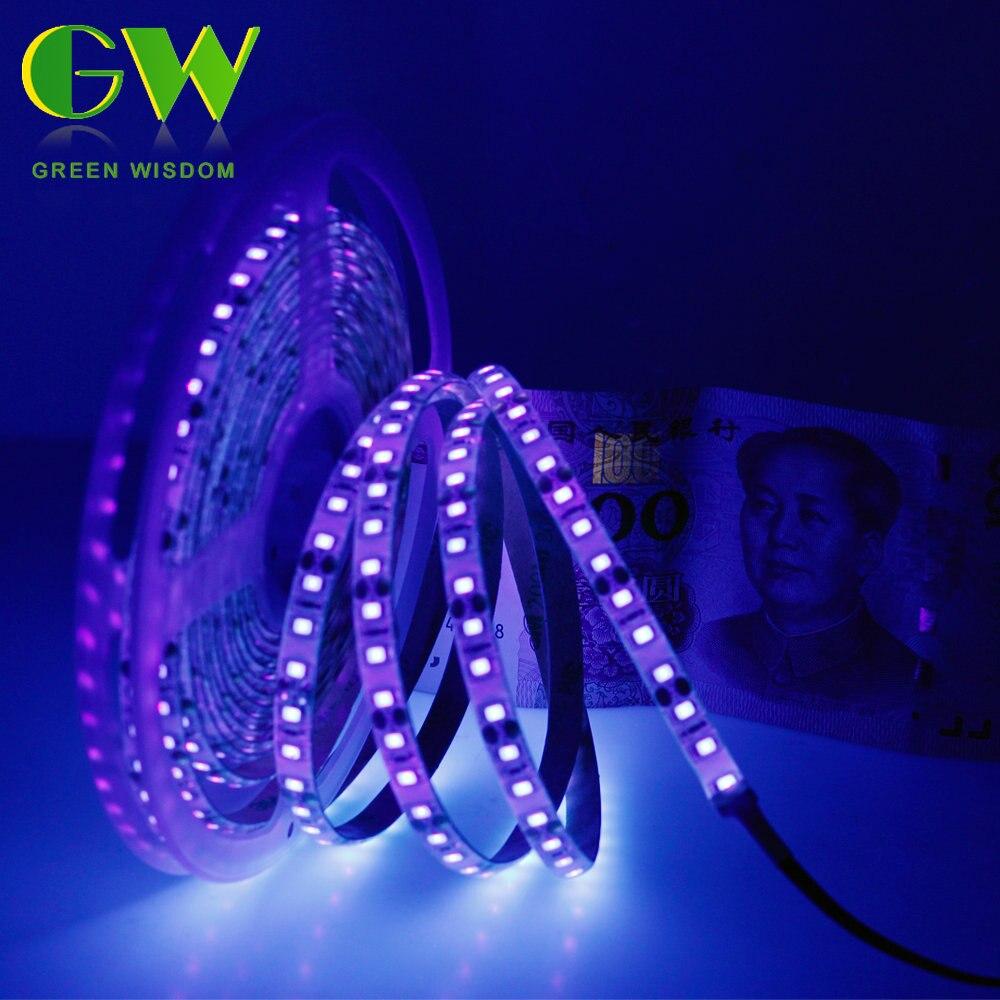 UV LED Strip Light 2835 SMD 60leds/m 120leds/m Ultraviolet LED Diode Ribbon Purple Flexible LED Tape For Party DJ Fluorescence