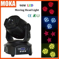 High brightness 90W led wash moving head light dmx led moving zoom gobo light LCD Display With 3 Face Prism