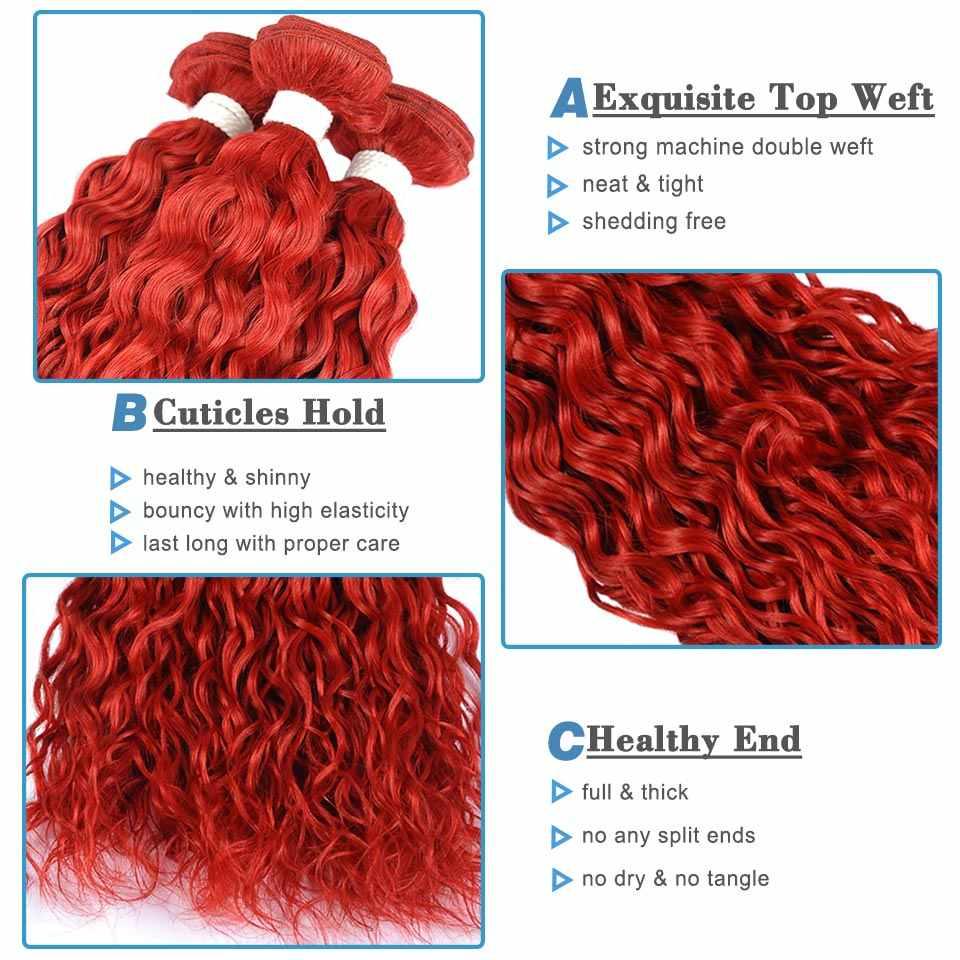 99J rojo borgoña paquetes de ofertas de paquetes de armadura brasileña del pelo de la onda de agua de color 100 cabello humano Remyblue Remy extensiones de cabello