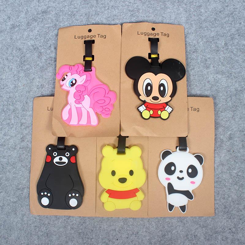 Cartoon Bear Creative Luggage Travel AccessoriesTag Silica Gel Suitcase ID Addres Holder Baggage Boarding Tags Portable Label
