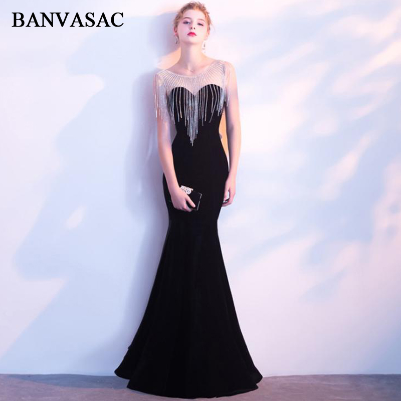 BANVASAC 2018 Velour O Neck Tassel Crystal Mermaid Long Evening Dresses Vintage Beading Party Lace Prom Gowns