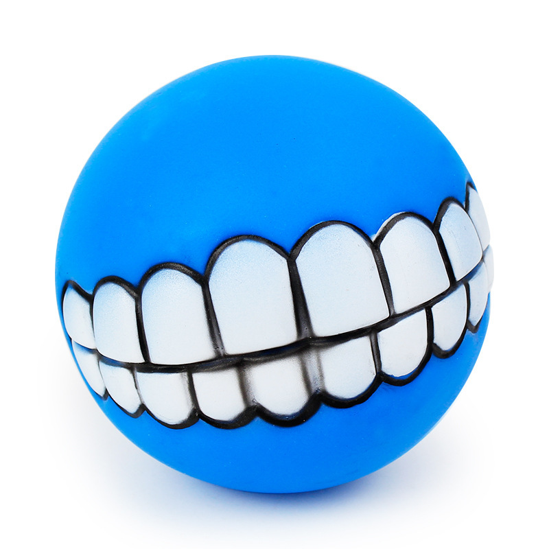 Funny Pets Dog Puppy Cat Ball Teeth Toy PVC Chew Sound Dogs Play Fetching Squeak Toys Pet Supplies 2
