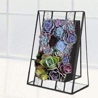 Succulent Glass Metal Bonsai Planter Pot Home Decoration Desktop Table Decorative Artifical Garden Green Plants Flower Pot Bowl