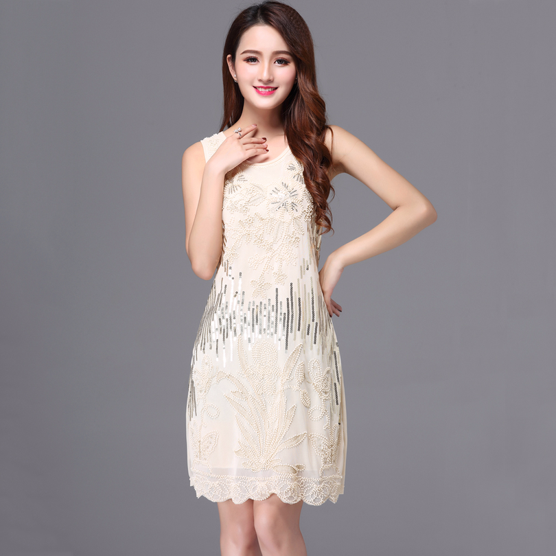 US $15.5 48% OFF|Women Allover Beaded Sequin Embroidery Dress Sleeveless  Plus Size Lady Holiday Party Dress 1920s Gatsby Charleston Flapper Dress-in  ...
