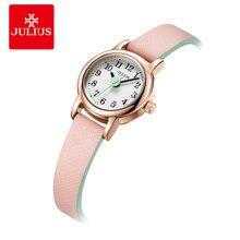 Mini reloj pequeño de cuarzo japonés para mujer, reloj de pulsera de cuero para mujer, regalo de cumpleaños para niña, caja Julius